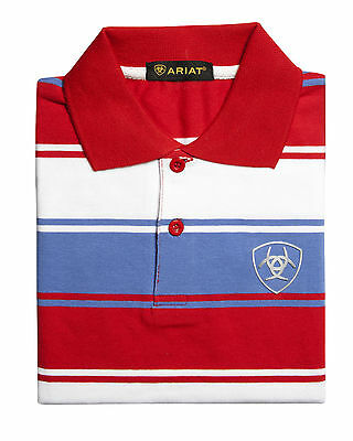 ARIAT - Boy's Polo Shirt - Red / White / Powder Blue Stripe - ( PLO2003 ) - New