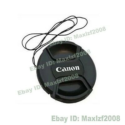 New 52mm -77mm Snap-on Front Lens Cap Cover w Cord strap For Canon