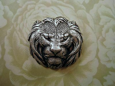 Oxidized Silver Brass Lion Head Stamping (1) - SOFF3817 Jewelry Finding