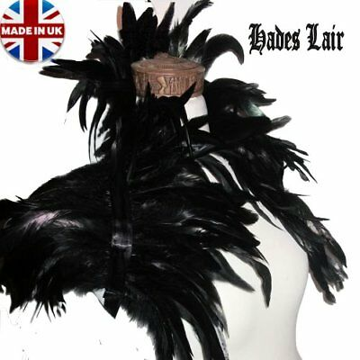 40 - 43cm WIDE REAL COQUE FEATHER EVENING SHRUG BLACK GOTH SWAN BOA COLLAR TOP