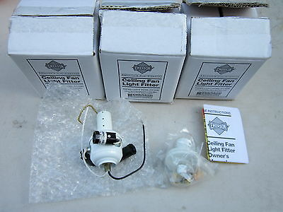 Lot / 3 Emerson FV4WW Appliance White Ceiling Fan Light Fitters NOS
