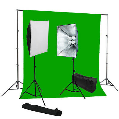 Studio 4 socket softbox lighting kit chromakey green backdrop Support System