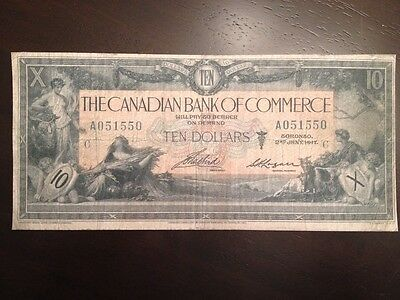 Reproduction $10 Bill Bank Of Commerce 1917 Toronto Chartered Bank Note
