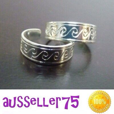 Silver Toe Ring Wave Carved Adjustable fashion accessory beach