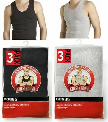 Mens Bonds 3 Pack Chesty Cotton Singlets Black Grey Underwear Men's Singlet Tee
