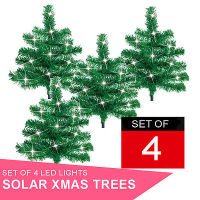 4 Pack Decorative Outdoor Garden Christmas Path Tree with Solar White LED Lights