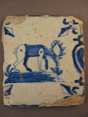 Antique Dutch Delft Baluster tile deer 17th century - free shipping