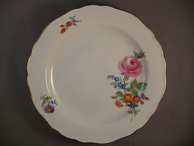 Dinner Plate Colorful flower Meissen Porcelain Germany  gold rim- free shipping