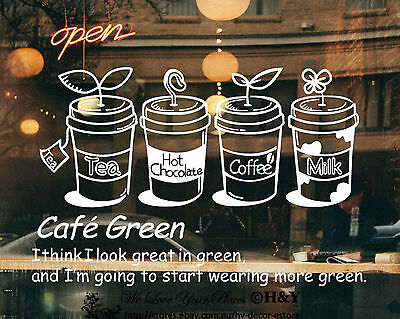 Cake Coffee Cafe Tea Shop Window Sign Stickers Wall Decal Vinyl Decor Art Mural