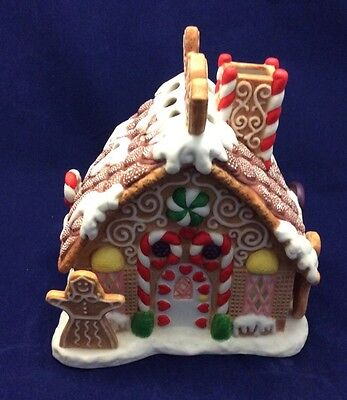 """Partylite Gingerbread Tealight House Box Christmas Candy Cane 7"""" Village Candle"""