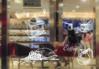 Cake Coffee Cafe Restaurant Shop Window Sign Stickers Wall Decal Decor Removable