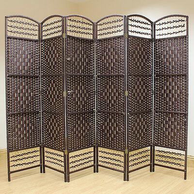 Brown 6 Panel Wicker Room Divider Hand Made Privacy Screen/Separator/Partition