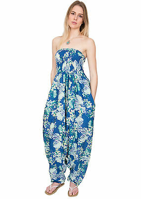 Cotton Printed Maxi 2 in 1 Harem Trouser Jumpsuit Floral and Fern Print