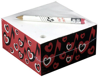 CMC Memo Cube with Pencil -  Hearts and Heart Notes