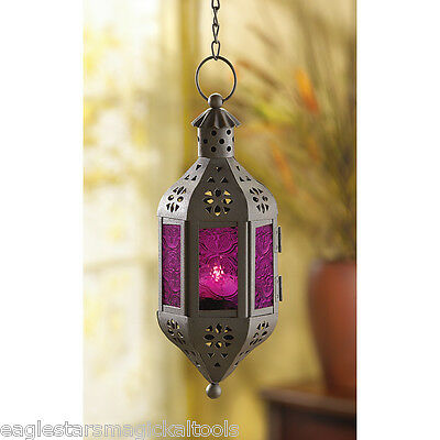 Amethyst  Candle Lantern - hanging Moroccan style Light - tea light