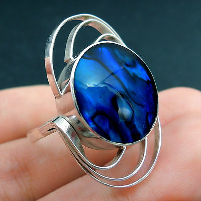BLUE PAUA ABALONE SHELL Ring Solid 925 Sterling Silver Size Q-UK, 8.5-US, MODERN