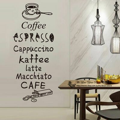 Cake Coffee Cafe Restaurant Shop Wall Stickers Window Sign Decal Art Quote Mural