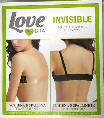 Reggiseno Spalline Trasparenti Super Push Up Love & Bra Invisibile Schiena Nuda