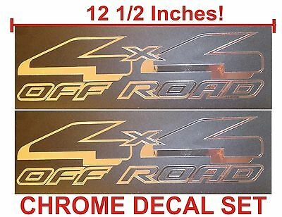 4x4 Off Road Truck Bed Decals, CHROME (Set) for Ford F-150 and Super Duty