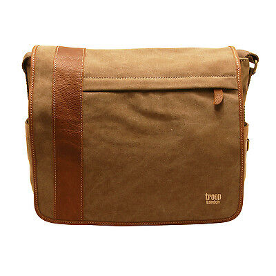 Troop London - Brown Heritage Messenger Laptop Bag in Canvas with Leather Trim