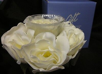 """AVON GIFT COLLECTION CADEAUX Votive Holder White Wedding Rose 2003 Candle 7"""""""
