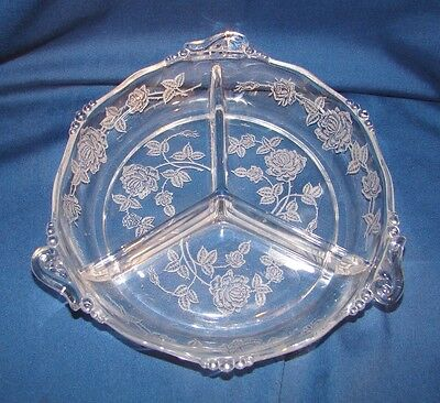 Heisey Rose 3 Part Relish Tray