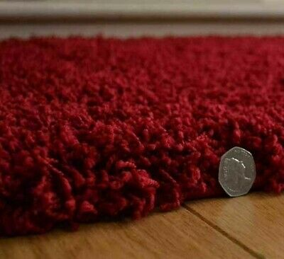 Red Shaggy Rug Super Soft Thick Luxurious 50 mm High Pile Any Room
