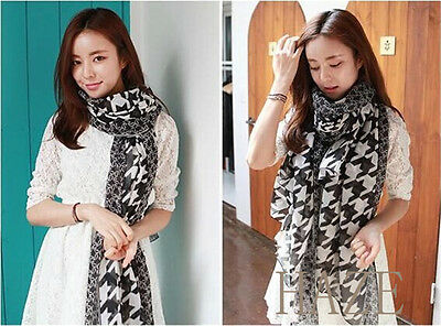 Women Ladies Voile Houndstooth soft scarves Long  Wraps Beach Silk Scarf Shawl
