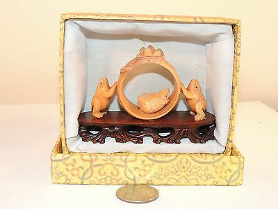 Carved Frogs on wooden Stand with original box (7793)