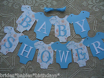 10 Bunting Flags Banners Garland BABY SHOWER Boy Blue DIY Vintage