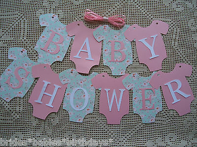 10 Bunting Flags Banners Garland Onesies BABY SHOWER Pink Mint Green DIY Girl