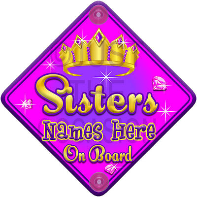 NEW   TORQ JEWEL SISTERS   Princess Personalised Baby on Board Car Window Sign