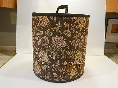 """Vintage Tapestry Wig/Hat Box Train Case Display13"""" Tall Buckle Snap Closures"""