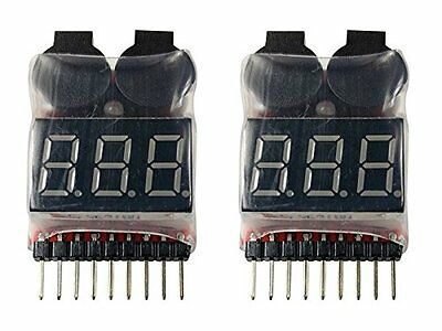 Apex RC Products 1-8 Cell Lipo Battery Voltage Checker +  Alarm - 2 Pack #1655