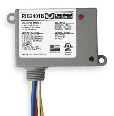 FUNCTIONAL DEVICES INC / RIB RIB2401B Enclosed Pre-Wired Relay, SPDT, 20A@277VAC