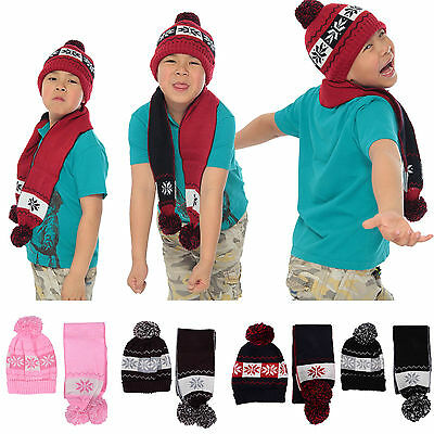 Kids Boys Girls Knit Beanie Hat Snowflake Print Pattern Car Scarf Set with Ball