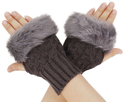 Women's Girls Arm Warmer Fingerless Short Knit Gloves With Faux Fur Mitts