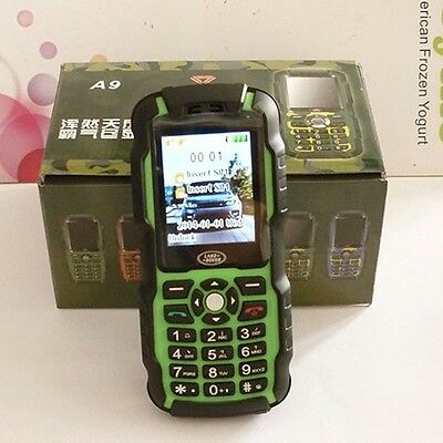 A9 Dustproof Cell phone 4 Bands Unlocked 2 SIM Cards MP3 Bar Mobile Phone Green