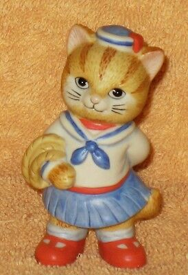 BRONSON  BISQUE PORCLAIN COLLECTIBLE SAILOR GIRL CAT FIGURE MNB