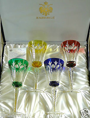 """FABERGE GRAND PALAIS WINE WATER GLASSES GOBLETS 9-5/8""""H CASED CRYSTAL NIB SIGNED"""