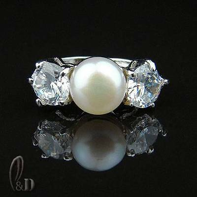 Chic Gorgeous 8mm White Genuine pearls Sparkling Ring AU SELLER 09017-2