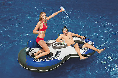 New Intex River Run 2 Inflatable Tube River Lake Pool Float Cooler Lounge Twin