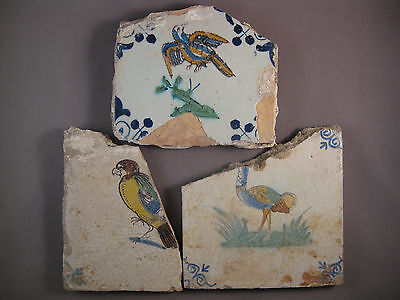 3 Antique Dutch Delft tiles animal 17th century - free shipping