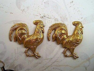 Raw Brass Rooster Stampings (2) - RAT3249 Jewelry Finding