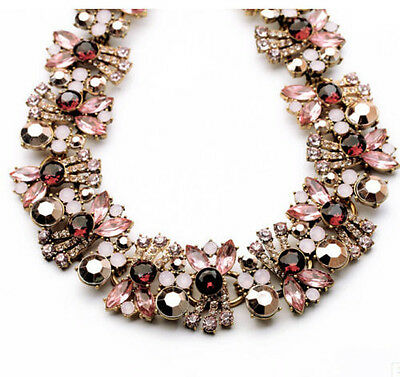 New Design Lady rainbow color mixed bib statement crystal gorgeous necklace hot