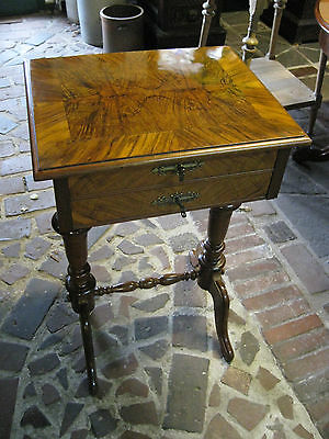 Antique Sewing Table Walnut shellac polished  19th Century  -- free shipping