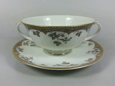 Royal Doulton Lynnewood Tc1018 Cream Soup Coupe / Cup And Saucer (Perfect)