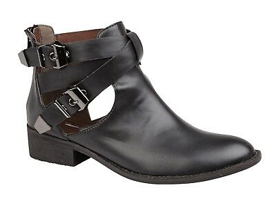 Ladies Ankle Boot Buckle  Detail  Low Heel  Black  Casual Fashionable