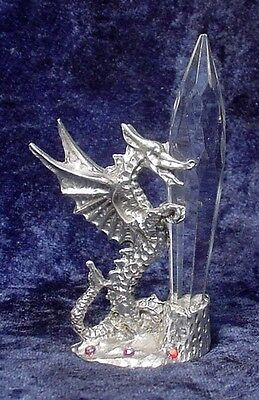 Pewter Dragon with Crystal Prism & Crystal Accents