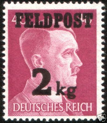 MINT NEVER HINGED LARGE WW2 NAZI MILITARY POST STAMP w HITLER & RARE OVERPRINT!!